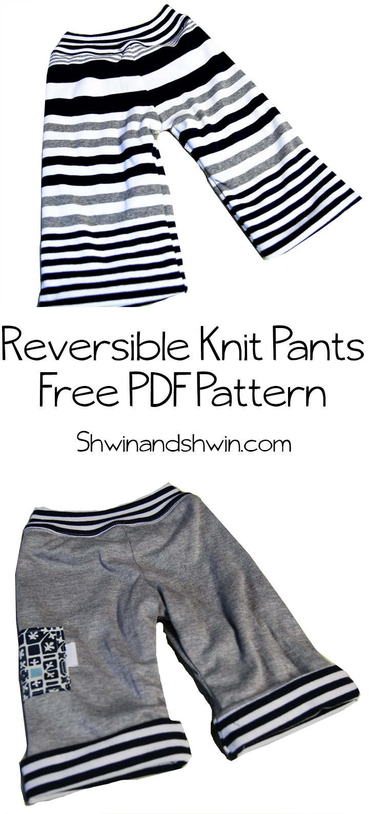 Reversible knit baby pants {with pdf pattern}