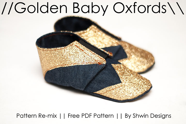 Gold Baby Oxfords || Free Baby Shoe Pattern