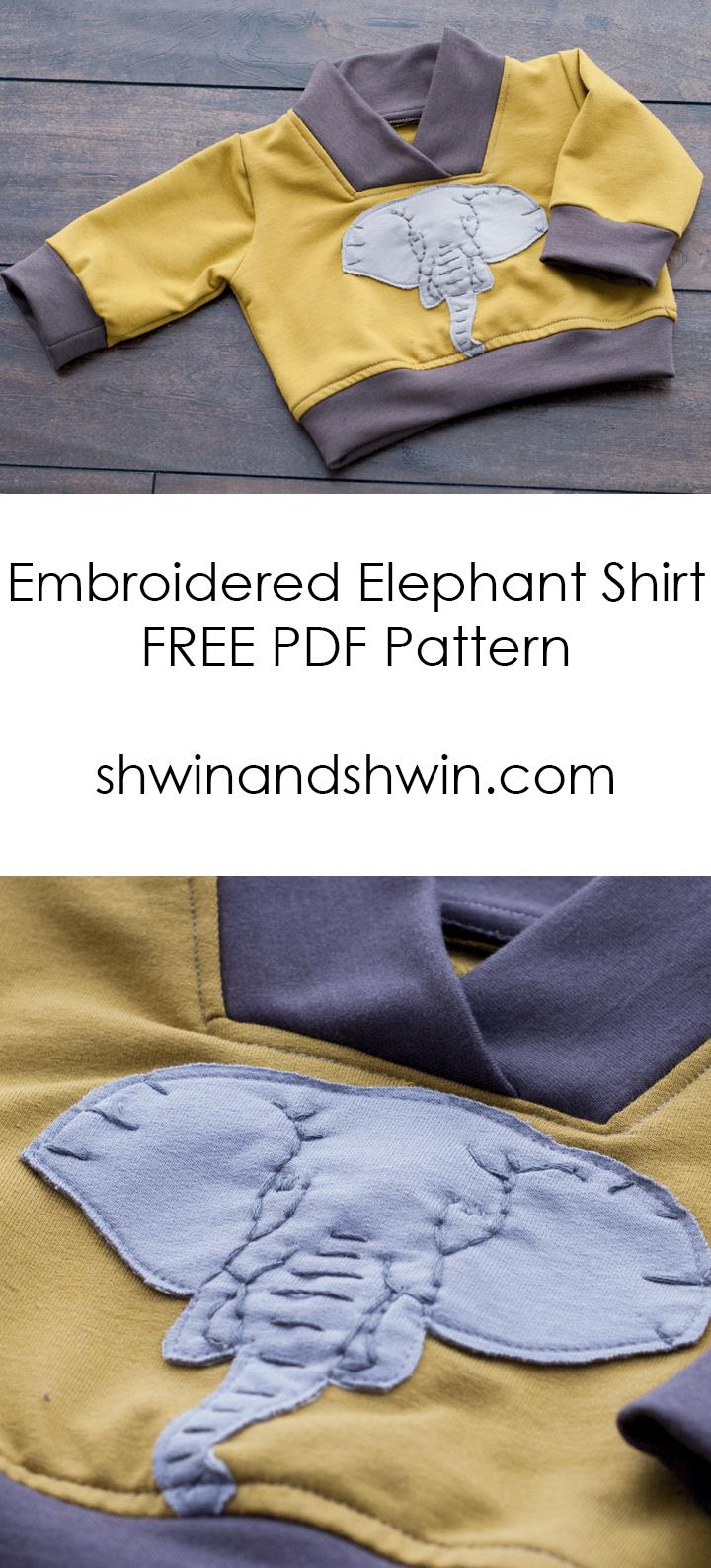 Embroidered Elephant Sweatshirt || Free PDF Pattern&Template || Shwin&Shwin