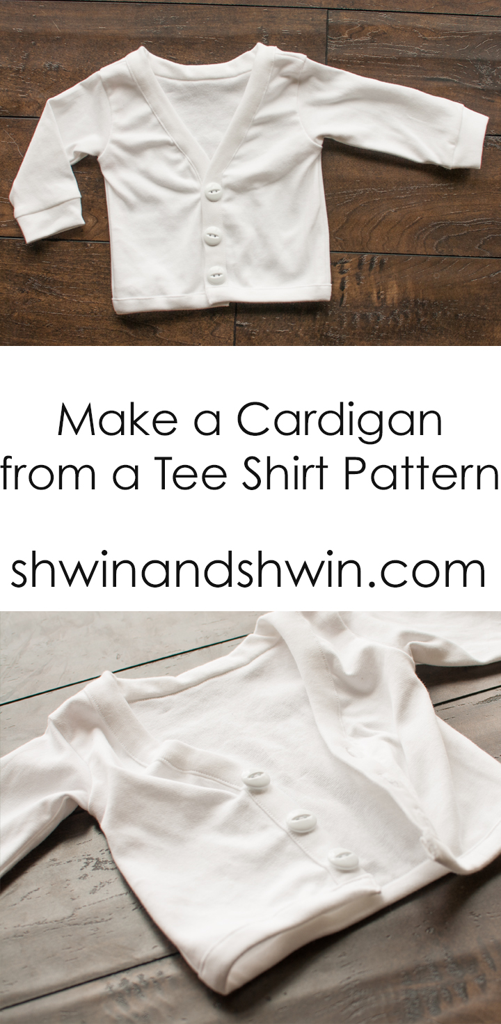 Make a cardigan from a tee shirt pattern || Shwin&Shwin