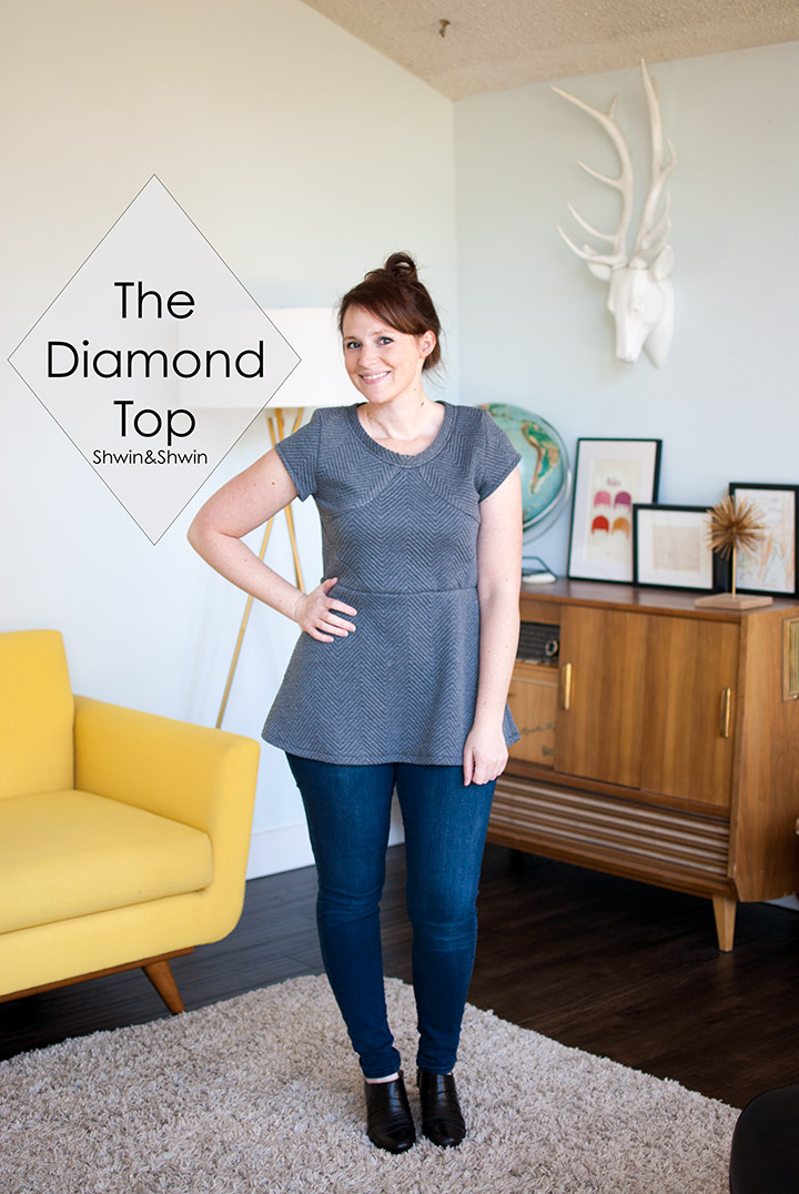 The Diamond Top || Quilted Knit Peplum || Unbiased Collection