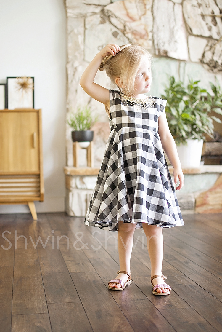 Gingham and Sequins || How to add sleeves to the Georgia Twirl Pattern by Shwin Designs. || Shwin&Shwin