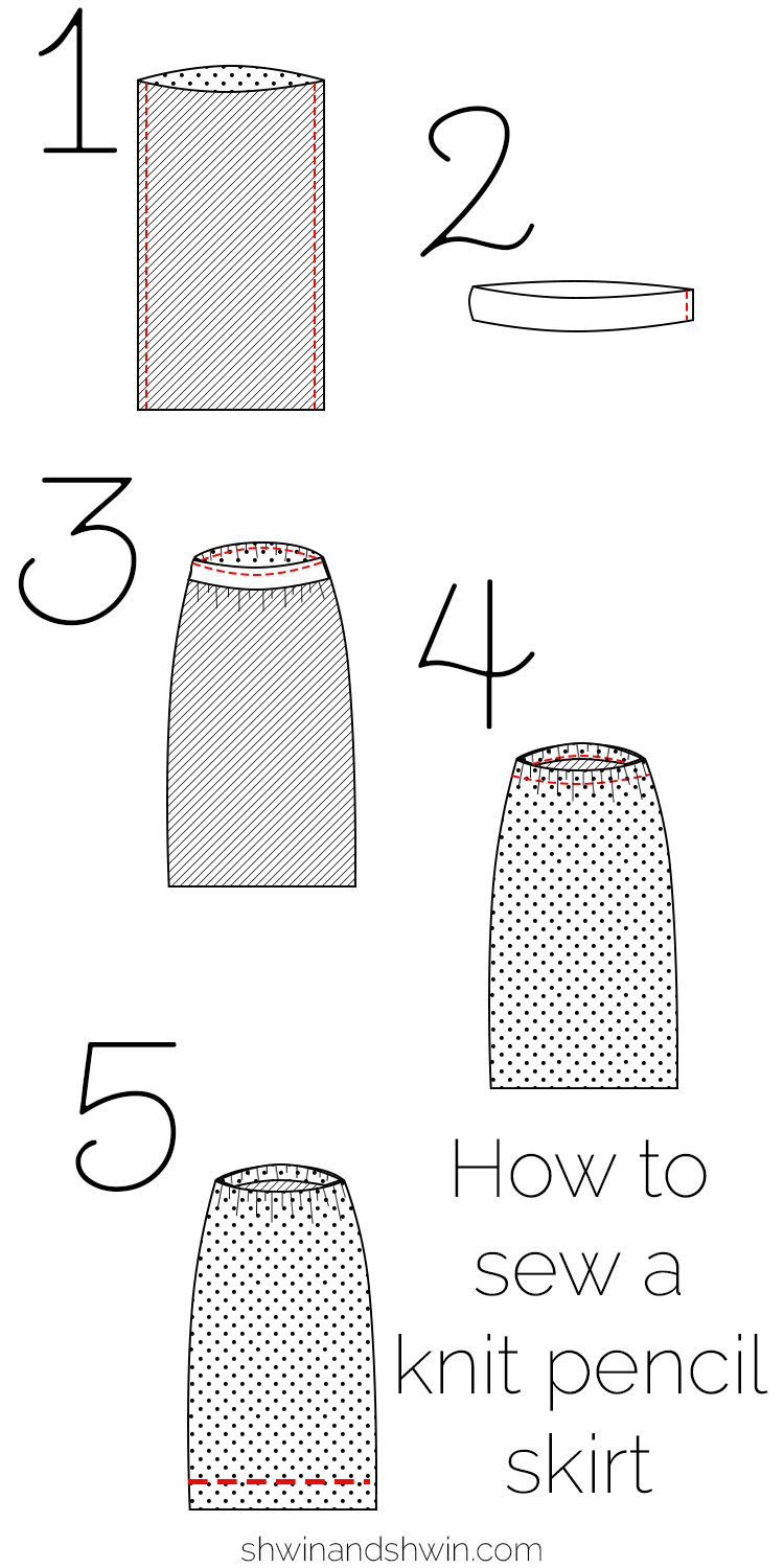 How To Knit A Skirt Pattern Free : Free Knit Pencil Skirt Pattern - Shwin and Shwin