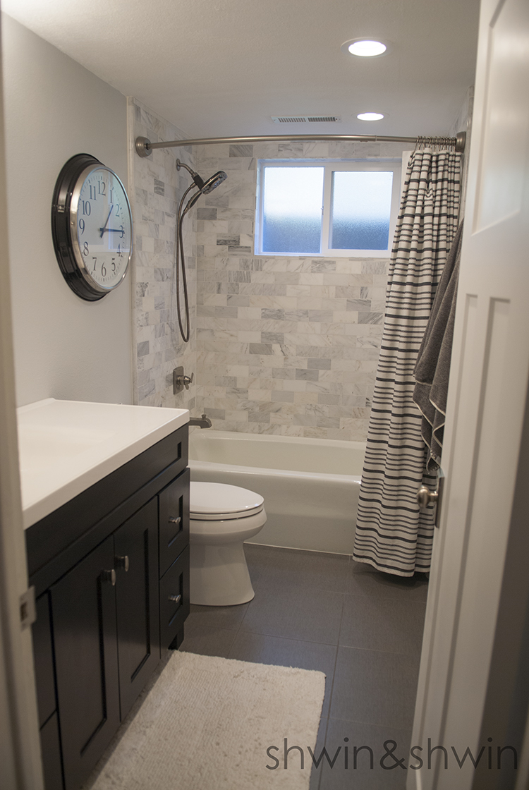 Bathroom Renovation || Downstairs Bath || Black and White bathroom