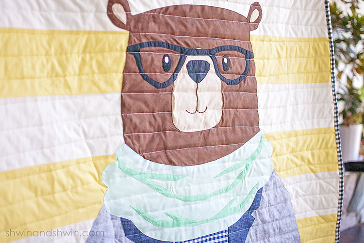Hipster Bear Quilt Applique